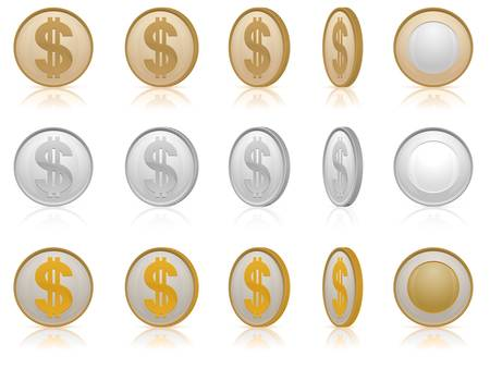 Coins with dollar money symbol, vector illustration in gold & silver  Vector