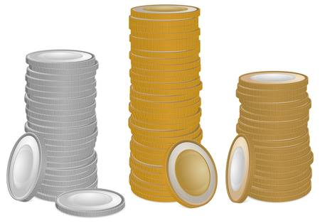 coin silver: Stacks of gold and silver money coins on white, vector illustration