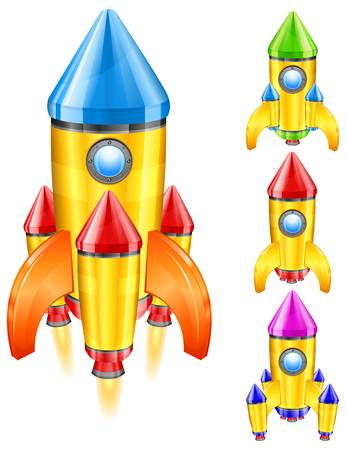 Color retro rocket ship, stylize vector illustration