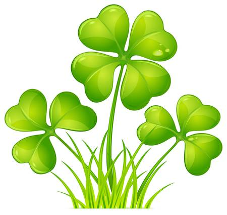 four objects: Four leaf clover with green grass for St. Patricks day  Illustration