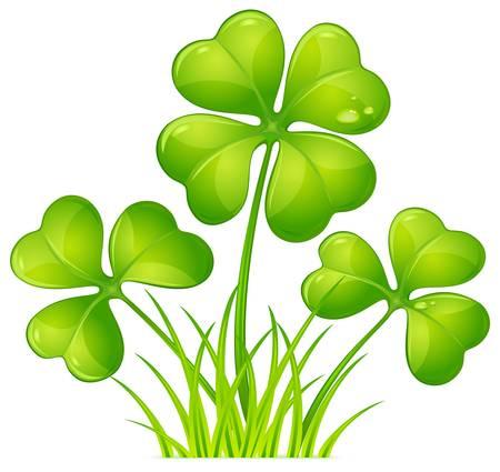 Klavertje vier met groen gras voor St. Patrick's Day Stock Illustratie