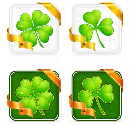 Square clover button with gold ribbon on white,for St. Patrick's day Vector