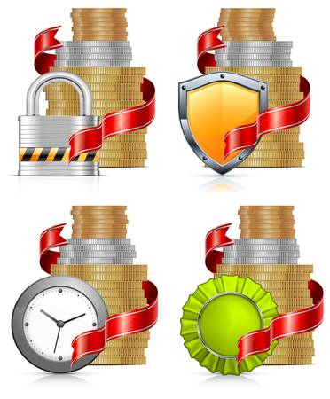 silver coins: Stacks of gold money coins with ribbon, lock, coat and clock Illustration