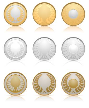 silver medal: Collection of gold, silver and bronze medals Illustration