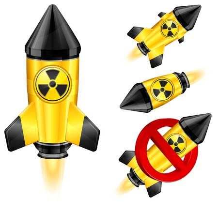 Danger nuclear retro rocket ship, stylize Vector