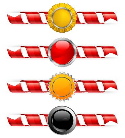 congratulating: Beautiful color spirals with round labels, decoration ribbon,