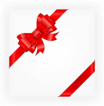 Big red gift bow with ribbons, illustration vector  Illustration
