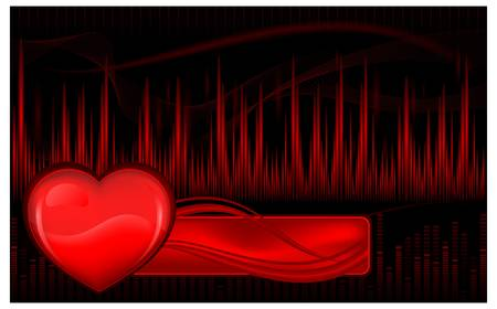 ecg heart: Graphic display with pulse waves and heart, vector illustration Illustration