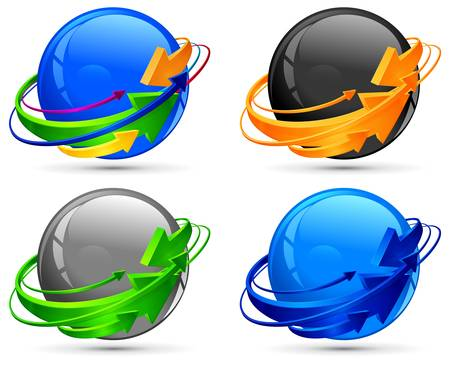 encircle: Circle arrows around color spheres, vector illustration