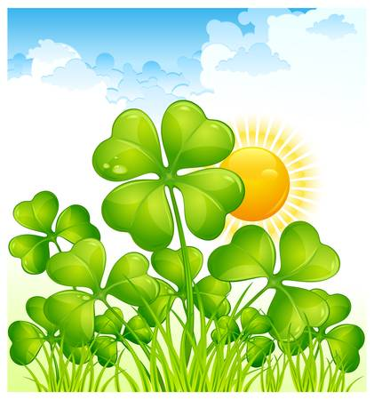 four objects: Landscape with four leaf clover, vector illustration for St. Patricks day