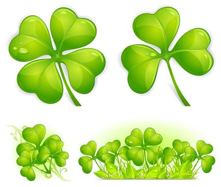 four objects: Four leaf clover pattern, vector illustration for St. Patricks day