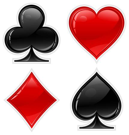card game: Set of shiny card suit icons in black and red, vector illustration