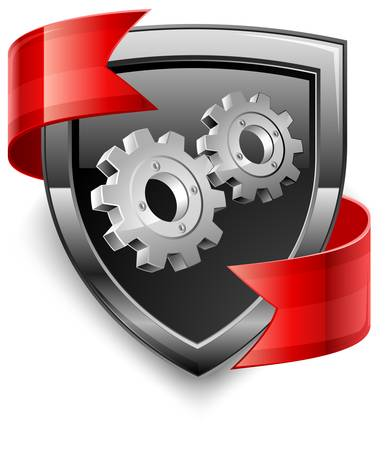 safety gear: Shield security icons with gear and red ribbon on white, vector illustration