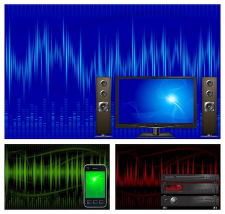 Graphic equalizer display, sound waves, equipment, vector illustration Vector