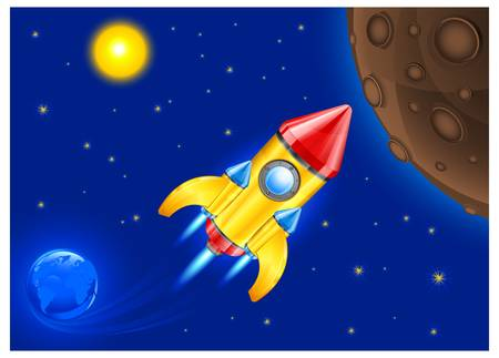 retro rocket ship space vehicle blasting off into sky, vector illustration.  Vector