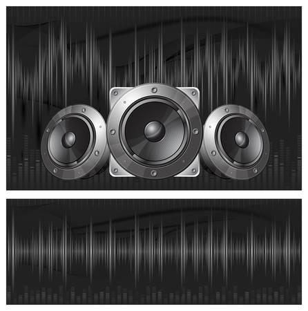 geluidsgolven: Grafische equalizer display, geluidsgolven en luidspreker, vector illustration Stock Illustratie