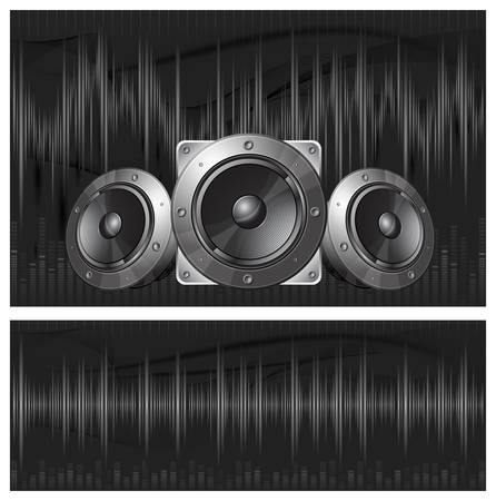 Graphic equalizer display, sound waves and speaker, vector illustration Illustration