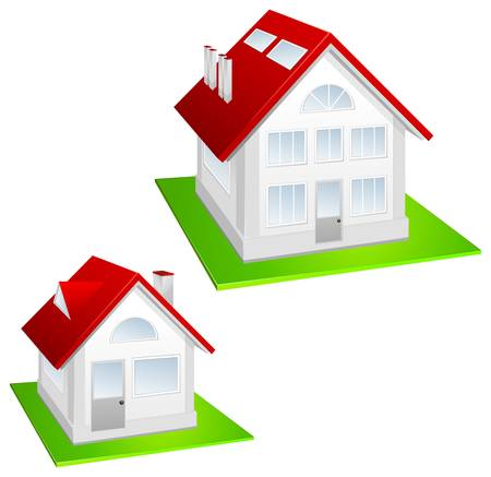 housetop: Model of house with red roof and lawn on white background, vector illustration