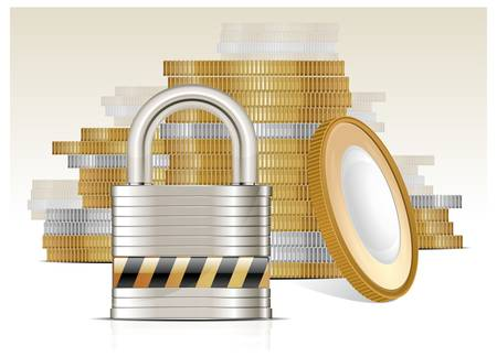 coin stack: Stacks of gold money coins and lock on white, vector illustration