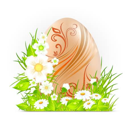 Easter egg with flowers on green grass, holiday illustration
