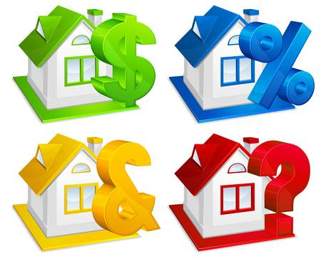 immovable property: Real estate, model of house with financial symbols, business concept, vector illustration