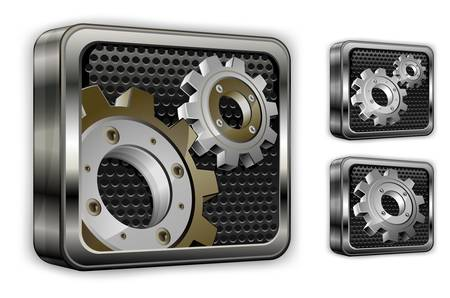Industrial gears in square icons on white, mechanical illustration  Vector