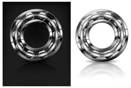 friction: Metal roller bearings on white &amp, black background, illustration