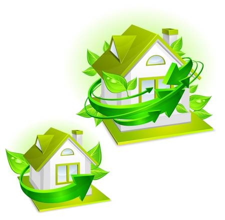immovable property: Ecology protection, model of house with green arrows, environment concept, illustration Illustration
