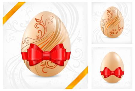 Decorated eggs with red ribbon isolated on floral background, illustration