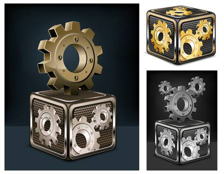 Industrial gears in cube on black, mechanical illustration