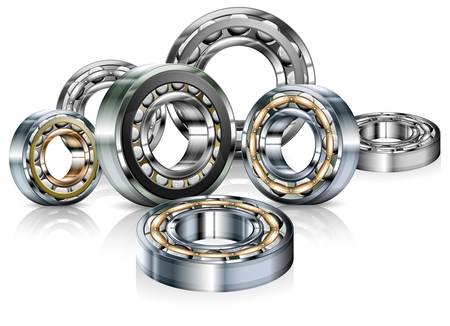 Metal roller bearings on white background, vector illustration