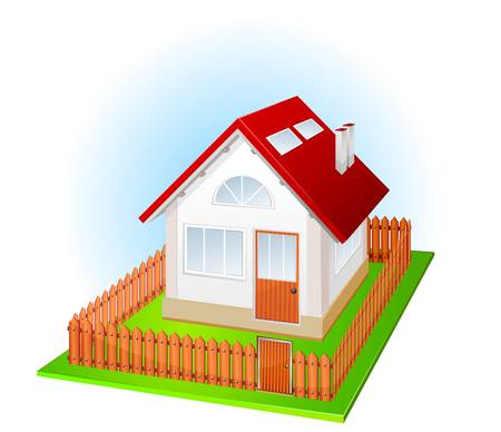 immovable property: Small house with nice green court yard and fence, vector illustration