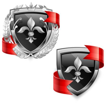 Shield security icons with lily, and red ribbon on white, vector illustration  Vector