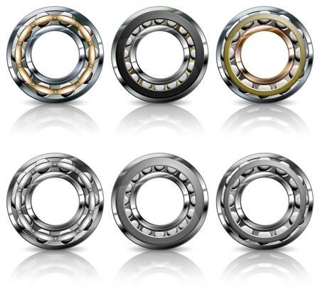 Metal roller bearings on white background, vector illustration Vector