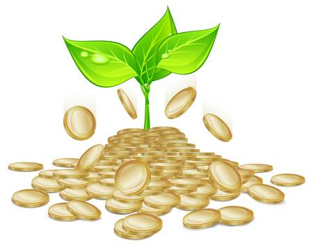 growing money: sprout plants growing through the pile of gold coins, vector illustration  Illustration