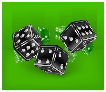 Dices for dribbling on green, vector illustration, casino gambling Stock Vector - 12829498