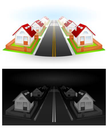 Street of residential houses with red roof and fence, vector illustration