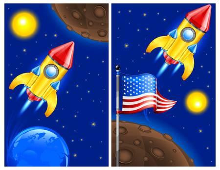 stabilizer: American retro rocket ship space vehicle blasting off into sky, vector illustration.
