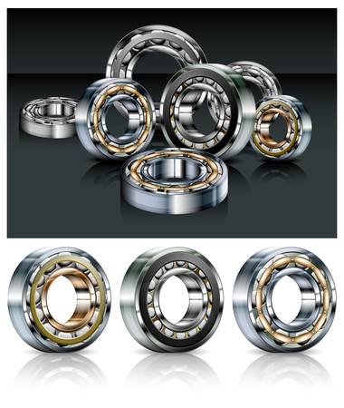 Metal roller bearings on white & black background, vector illustration
