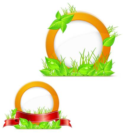 Circle with green grass and red ribbon, vector illustration Stock Vector - 12829508