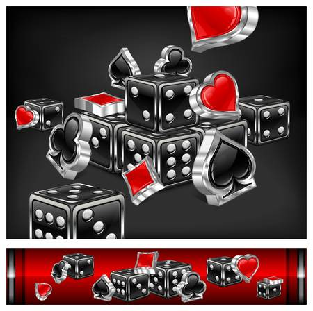 royal flush: Casino background, dices and card icon on black, vector illustration