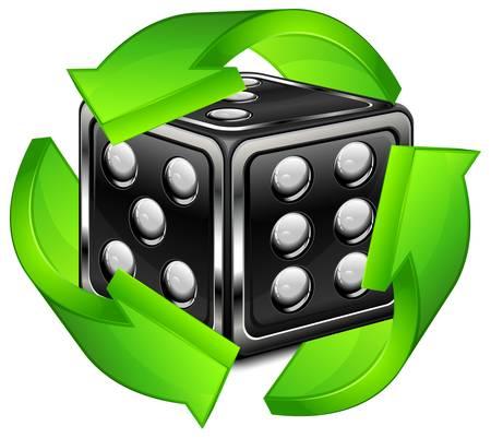 dribbling: Dice for dribbling with green arrow, vector illustration, casino gambling