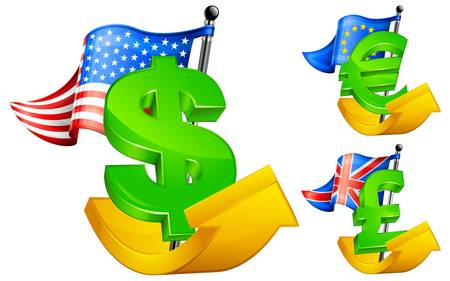 currency symbols: Three currency symbols with national flags on arrows, vector illustration
