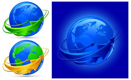 Circle arrows around blue planet, globalization vector illustration Vector
