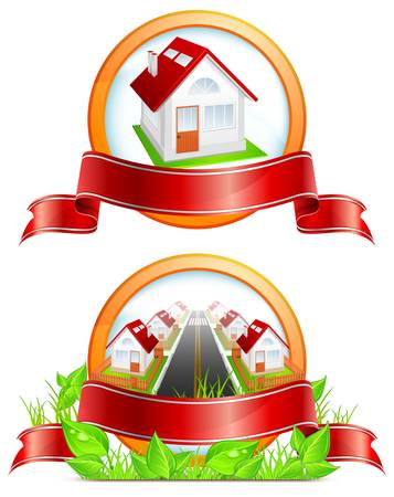 Round icon with residential houses, ribbon and greens, vector illustration Stock Vector - 13008384