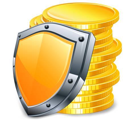 pile of cash: Stack of gold money coins with coat, vector illustration