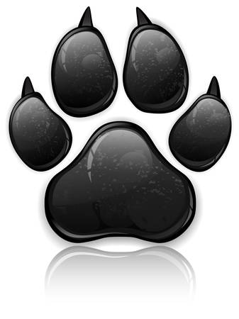 bear silhouette: Black animal paw print