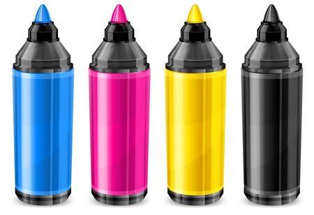 punta: Quattro indicatori di colore, pennarello in CMYK