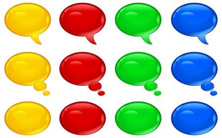 correspond: Set of round colorful speech bubbles