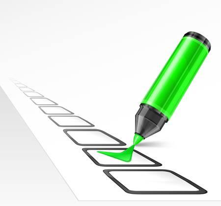 Verde rotulador con marca de verificación y la caja